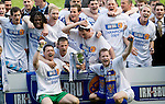 St Johnstone v Morton....02.05.09.Alan Main, Chris Millar and Kevin Rutkiewicz at the lift the first division trophy with their team mates.Picture by Graeme Hart..Copyright Perthshire Picture Agency.Tel: 01738 623350  Mobile: 07990 594431