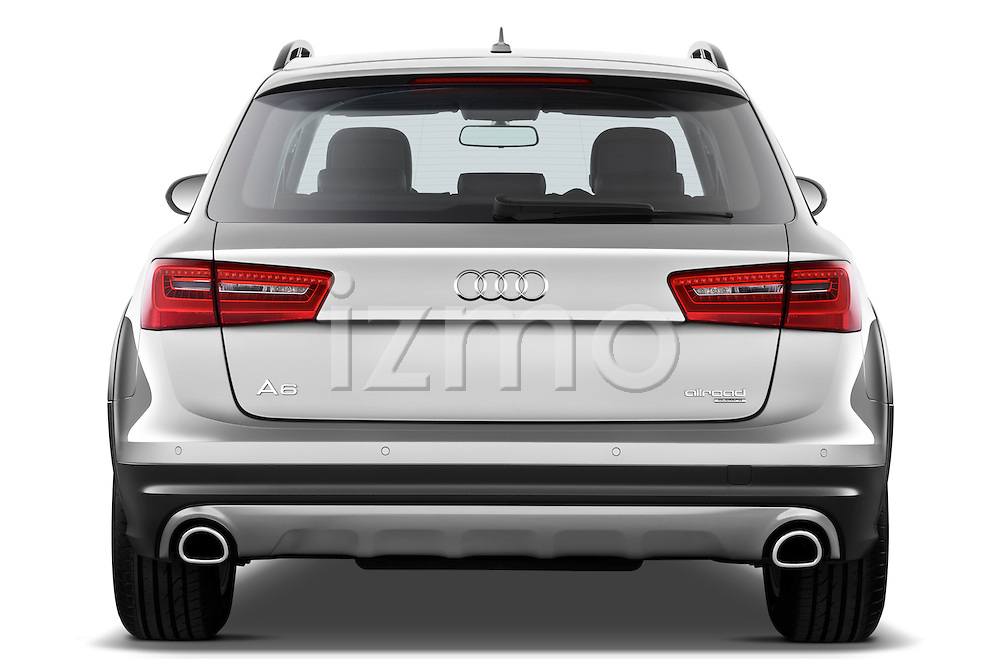 Straight rear view of a 2013 Audi A6 Allroad Quattro Wagon