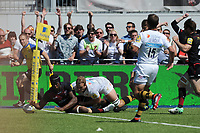 Maro Itoje of Saracens touches down in the high scoring Aviva Premiership Rugby semi final match between Saracens and Wasps at Allianz Park on Saturday 19th May 2018 (Photo by Rob Munro/Stewart Communications)
