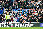 Newcastle fans celebrating Jacob Murphy's 40th minute goal. Newcastle v West Ham, August 15th 2021. The first game of the season, and the first time fans were allowed into St James Park since the Coronavirus pandemic. 50,673 people watched West Ham come from behind twice to secure a 2-4 win.