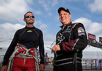 Sept. 1, 2013; Clermont, IN, USA: NHRA funny car driver Tim Wilkerson (right) with Jack Beckman during qualifying for the US Nationals at Lucas Oil Raceway. Mandatory Credit: Mark J. Rebilas-