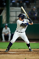 Tri-City Dust Devils Luke Becker (10) at bat during a Northwest League game against the Vancouver Canadians at Gesa Stadium on August 21, 2019 in Pasco, Washington. Vancouver defeated Tri-City 1-0. (Zachary Lucy/Four Seam Images)