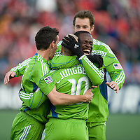 Seattle Sounder FC players celebrate the first goal during action against Toronto at BMO Field in Toronto on April 4, 2009.Seattle won 2-0. Photo by Nick Turchiaro/isiphotos.com