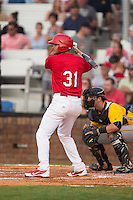 Ryan McCarvel (31) of the Johnson City Cardinals at bat against the Bristol Pirates at Howard Johnson Field at Cardinal Park on July 6, 2015 in Johnson City, Tennessee.  The Cardinals defeated the Pirates 8-2 in game two of a double-header. (Brian Westerholt/Four Seam Images)