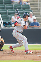 Mitch Walding (22) of the Lakewood BlueClaws follows through on his swing against the Kannapolis Intimidators at CMC-NorthEast Stadium on July 20, 2014 in Kannapolis, North Carolina.  The Intimidators defeated the BlueClaws 7-6. (Brian Westerholt/Four Seam Images)