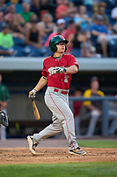 Fort Wayne TinCaps Zack Mathis (2) bats during a game against the West Michigan Whitecaps on August 21, 2021 at LMCU Ballpark in Comstock Park, Michigan.  (Mike Janes/Four Seam Images)