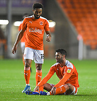 Blackpool's Gary Madine (seated) and Grant Ward<br /> <br /> Photographer Dave Howarth/CameraSport<br /> <br /> EFL Trophy Northern Section Group G - Blackpool v Barrow - Tuesday 8th September 2020 - Bloomfield Road - Blackpool<br />  <br /> World Copyright © 2020 CameraSport. All rights reserved. 43 Linden Ave. Countesthorpe. Leicester. England. LE8 5PG - Tel: +44 (0) 116 277 4147 - admin@camerasport.com - www.camerasport.com