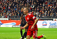 celebrate the goal, Torjubel zum 0:1 um Franck Ribery (FC Bayern Muenchen) - 22.12.2018: Eintracht Frankfurt vs. FC Bayern München, Commerzbank Arena, DISCLAIMER: DFL regulations prohibit any use of photographs as image sequences and/or quasi-video.
