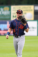 Bowling Green Hot Rods outfielder Carl Chester (9) warms up in the outfield prior to a Midwest League game against the Wisconsin Timber Rattlers on July 22, 2018 at Fox Cities Stadium in Appleton, Wisconsin. Bowling Green defeated Wisconsin 10-5. (Brad Krause/Four Seam Images)
