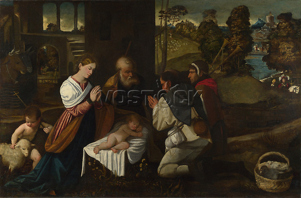 Full title: The Adoration of the Shepherds<br /> Artist: Attributed to Bernardino da Asola<br /> Date made: probably 1525-30<br /> The National Gallery, London