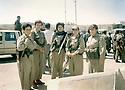 Iraq 2003.The day of the liberation of Kirkuk, in the center of the city,  women peshmergas of PUK: first left, colonel Nahida Ahmed Rashid.Irak 2003.Dans le centre de Kirkouk le jour de la liberation de la ville,des femmes peshmergas de l'UPK: a gauche, colonel Nahida Ahmed Rashid
