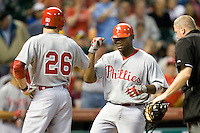Philadelphia Phillies 1B Ryan Howard scores after hitting a HR against the Houston Astros on Turn Back the Clock Nite. Game played on Saturday April 10th, 2010 at Minute Maid Park in Houston, Texas.  (Photo by Andrew Woolley / Four Seam Images)