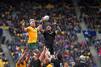 NZ's Shannon Frizell takes lineout ball during the Bledisloe Cup rugby union match between the New Zealand All Blacks and Australia Wallabies at Sky Stadium in Wellington, New Zealand on Sunday, 11 October 2020. Photo: Dave Lintott / lintottphoto.co.nz