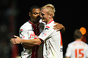 Jordan Burrow of Stevenage celebrates scoring their second goal with Darius Charles<br />  Stevenage v Ipswich Town - Capital One Cup First Round - Lamex Stadium, Stevenage - 6th August, 2013<br />  © Kevin Coleman 2013