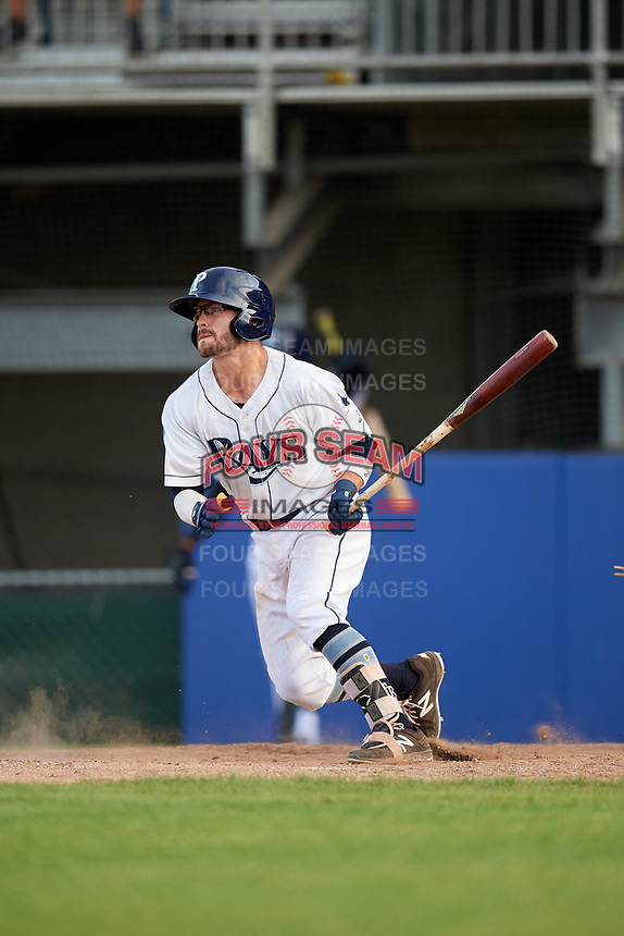 Princeton Rays second baseman Jake Palomaki (1) follows through on a swing during the first game of a doubleheader against the Johnson City Cardinals on August 17, 2018 at Hunnicutt Field in Princeton, Virginia.  Johnson City defeated Princeton 6-4.  (Mike Janes/Four Seam Images)