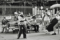 An impomptu jazz performance in Jackson Square, New Orleans.