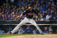 Cleveland Indians pitcher Andrew Miller (24) delivers a pitch in the sixth inning during Game 3 of the Major League Baseball World Series against the Chicago Cubs on October 28, 2016 at Wrigley Field in Chicago, Illinois.  (Mike Janes/Four Seam Images)