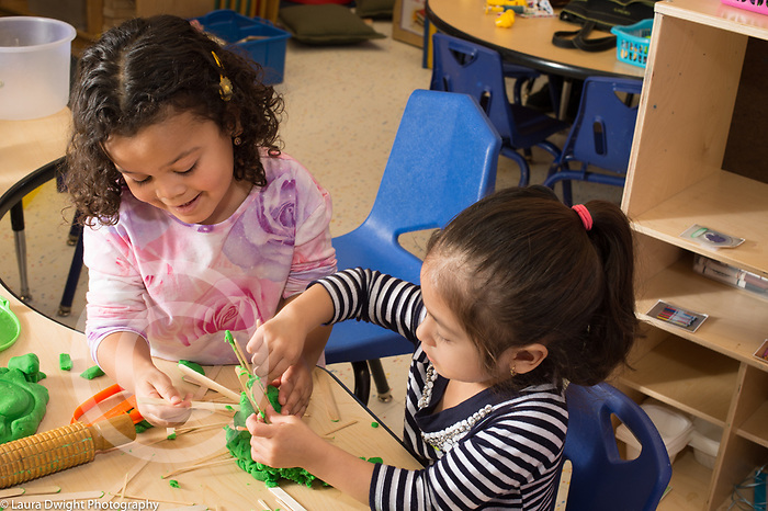 Education preschool 3 year olds two girls playing together making construction with green play dough and wooden tongue depressers