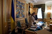 Kiev, Ukraine.August 29, 2005 ..Ukrainian Prime Minister Yulia Temichenko and President Victor Yushchenko address a financial budget meeting for the coming year with government officials and economic experts.