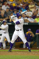 LSU Tigers first baseman Mason Katz #8 bats during Game 4 of the 2013 Men's College World Series between the LSU Tigers and UCLA Bruins at TD Ameritrade Park on June 16, 2013 in Omaha, Nebraska. The Bruins defeated the Tigers 2-1. (Brace Hemmelgarn/Four Seam Images)