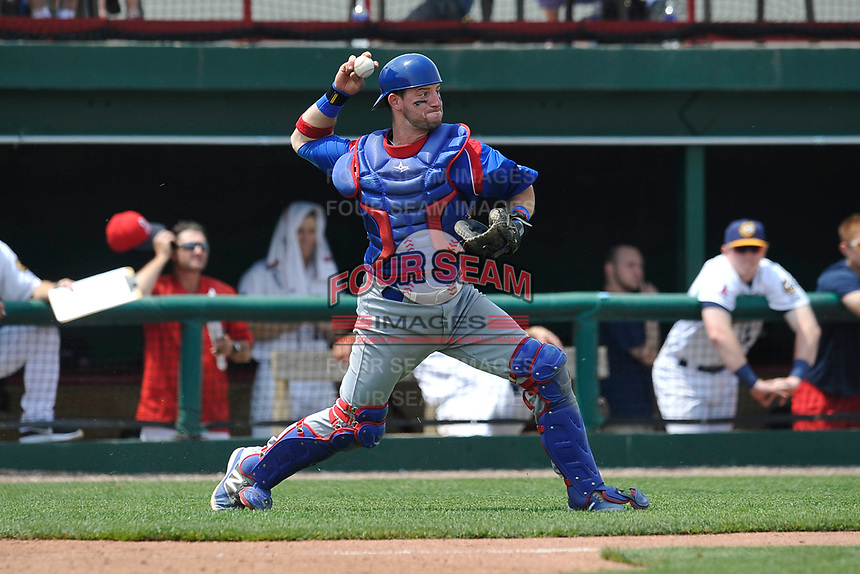 South Bend Cubs catcher Alberto Mineo (47) throws to second base during a game against the Burlington Bees at Community Field on May 10, 2017 in Burlington, Iowa.  The Bees won 4-3 in 10 innings.  (Dennis Hubbard/Four Seam Images)