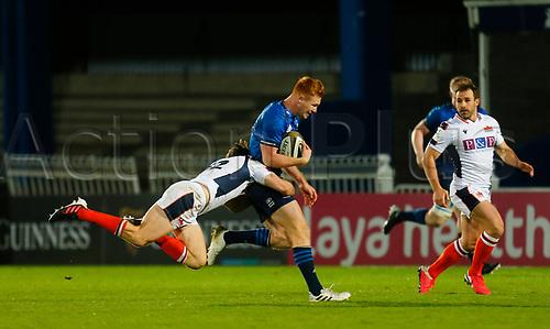 16th November 2020; RDS Arena, Dublin, Leinster, Ireland; Guinness Pro 14 Rugby, Leinster versus Edinburgh; Ciarán Frawley of Leinster is tackled by Chris Dean of Edinburgh