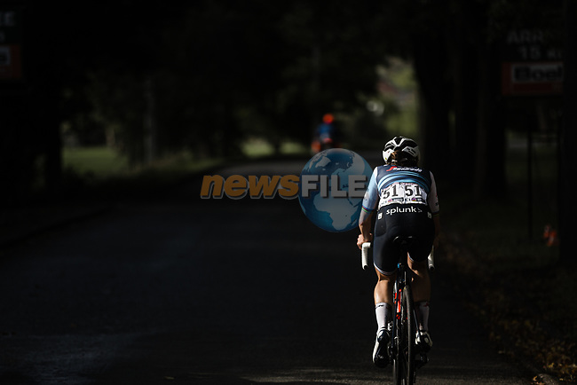 Elizabeth Deignan (GBR) Trek-Segafredo Women solo attack during Liege-Bastogne-Liege Femmes 2020, running 135km from Liege to Liege, Belgium. 4th October 2020.<br /> Picture: ASO/Thomas Maheux | Cyclefile<br /> All photos usage must carry mandatory copyright credit (© Cyclefile | ASO/Thomas Maheux)