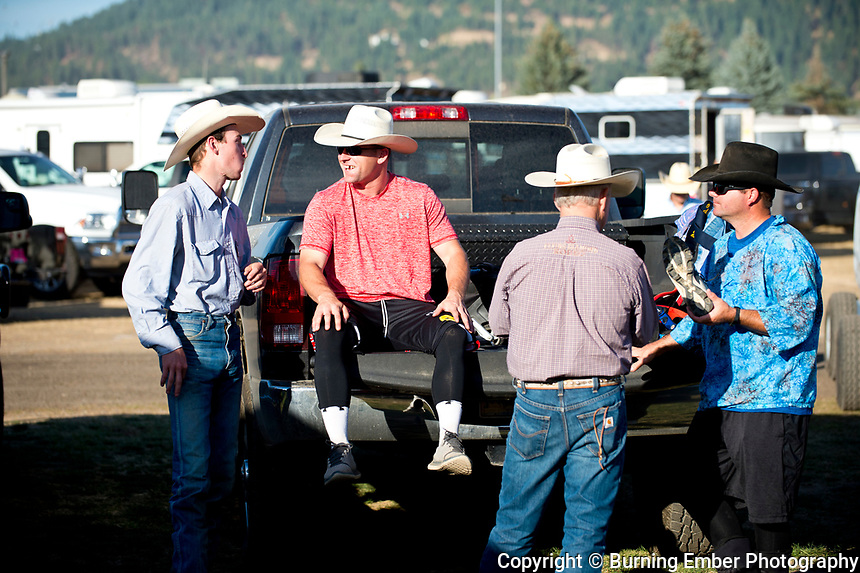 Nate Jestes and Tim O'Connor get ready and exchange some laughs at the Gem State Stampede Extreme Bulls Event August 24th 2017.  Photo by Josh Homer/Burning Ember Photography.  Photo credit must be given on all uses.