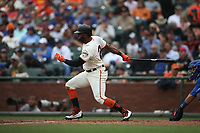 SAN FRANCISCO, CA - AUGUST 9:  Denard Span #2 of the San Francisco Giants bats against the Chicago Cubs during the game at AT&T Park on Wednesday, August 9, 2017 in San Francisco, California. (Photo by Brad Mangin)