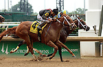 LOUISVILLE, KY - MAY 28: I'm a Looker (#4, ridden by Robby Albarado) dead heats for the win with Diva Express (inside horse, ridden by Julien Leparoux) in the G3 Winning Colors at Churchill Downs. I'm a Looker (Henny Hughes x Our Mariella, by Victory Gallop) owned by Glenmare Farm LLC (Chester J. Miller) and trained by Patrick J. Dupuy. Diva Express (Afleet Express x Phi Beta Diva, by Mr. Greeley) owned by John C. Oxley and trained by Mark E. Casse. (Photo by Mary M. Meek/Eclipse Sportswire/Getty Images)