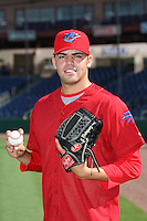 Clearwater Threshers pitcher Julio Rodriguez #26 before a game against the Daytona Cubs at the Brighthouse Stadium on June 23, 2011 in Clearwater, Florida.  (Mike Janes/Four Seam Images)