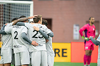 FOXBOROUGH, MA - APRIL 17: Players celebrate the first goal of the night during a game between Richmond Kickers and Revolution II at Gillette Stadium on April 17, 2021 in Foxborough, Massachusetts.