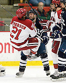 Marshall Everson (Harvard - 21), Nick Jaskowiak (Yale - 5) - The Harvard University Crimson defeated the visiting Yale University Bulldogs 8-2 in the third game of their ECAC Quarterfinal matchup on Sunday, March 11, 2012, at Bright Hockey Center in Cambridge, Massachusetts.