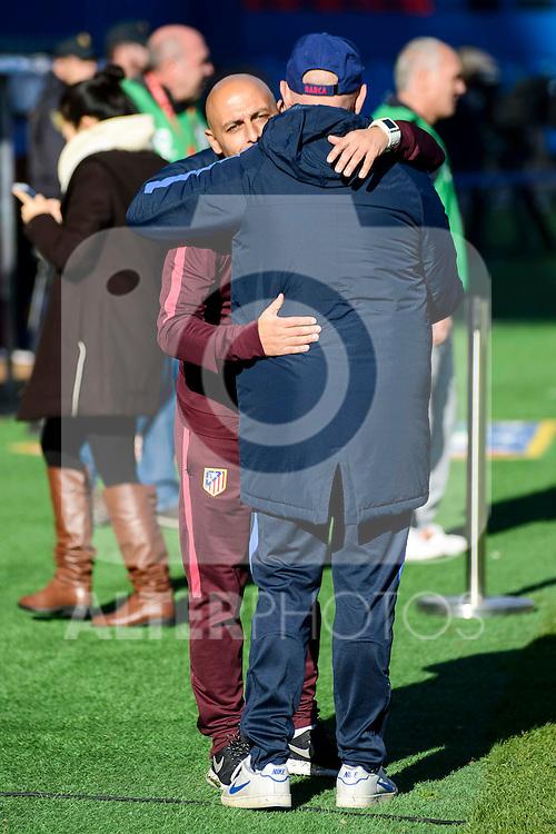 Atletico de Madrid coach Angel Villacampa Carrasco and FC Barcelona coach Xavier Llorens during match of La Liga Femenina between Atletico de Madrid and FC Barcelona at Vicente Calderon Stadium in Madrid, Spain. December 11, 2016. (ALTERPHOTOS/BorjaB.Hojas)