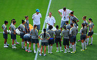 Coach Kleiton Lima (C) of team Brazil at a training session during the FIFA Women's World Cup at the FIFA Stadium in Dresden, Germany on July 9th, 2011.