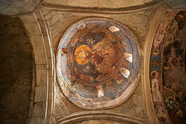 """picture & image of a Christ Pantocrator fresco on the inteior of the cupola, Samtavisi Georgian Orthodox Cathedral, 17th century, Shida Karti Region, Georgia (country)<br /> <br /> Built during the so called 10-11th century """"Georgian Golden Era"""" Samtavisi cathedral is a built in classical Georgian style of the period. Layout on a cruciform ground plan with a high central cylindrical central cupola."""