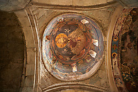 "picture & image of a Christ Pantocrator fresco on the inteior of the cupola, Samtavisi Georgian Orthodox Cathedral, 17th century, Shida Karti Region, Georgia (country)<br /> <br /> Built during the so called 10-11th century ""Georgian Golden Era"" Samtavisi cathedral is a built in classical Georgian style of the period. Layout on a cruciform ground plan with a high central cylindrical central cupola."