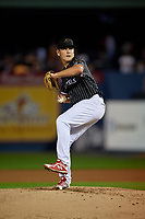 Reading Fightin Phils starting pitcher Spencer Howard (12) during an Eastern League game against the Trenton Thunder on August 16, 2019 at FirstEnergy Stadium in Reading, Pennsylvania.  Trenton defeated Reading 7-5.  (Mike Janes/Four Seam Images)