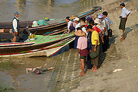 A dead Body floating in the Yangon River, Myanmar, Burma