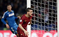 Calcio, Serie A: AS Roma - Sassuolo, Roma, stadio Olimpico, 30 dicembre 2017.<br /> Roma's Alessandro Florenzi celebrates after scoring a goal disallowed for offside during the Italian Serie A football match between AS Roma and Sassuolo at Rome's Olympic stadium, 30 December 2017.<br /> UPDATE IMAGES PRESS/Isabella Bonotto