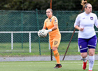goalkeeper Justien Odeurs (13 Anderlecht) pictured during a female soccer game between Club Brugge Dames YLA and RSC Anderlecht Ladies on the fifth matchday of the 2020 - 2021 season of Belgian Scooore Womens Super League , sunday 18 October 2020  in Brugge , Belgium . PHOTO SPORTPIX.BE | SPP | DAVID CATRY