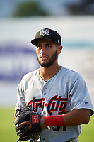 Tri-City ValleyCats third baseman Abraham Toro-Hernandez (31) warms up before a game against the Batavia Muckdogs on July 14, 2017 at Dwyer Stadium in Batavia, New York.  Batavia defeated Tri-City 8-4.  (Mike Janes/Four Seam Images)