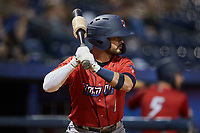 Eddy Alvarez (1) of the Jacksonville Jumbo Shrimp waits for his turn to hit during the game against the Durham Bulls at Durham Bulls Athletic Park on May 15, 2021 in Durham, North Carolina. (Brian Westerholt/Four Seam Images)