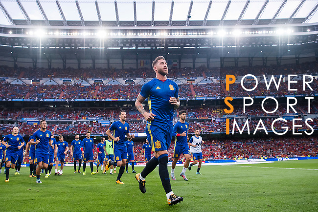 Sergio Ramos of Spain warming up  during their 2018 FIFA World Cup Russia Final Qualification Round 1 Group G match between Spain and Italy on 02 September 2017, at Santiago Bernabeu Stadium, in Madrid, Spain. Photo by Diego Gonzalez / Power Sport Images