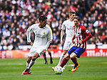 Real Madrid´s Raphael Varane and Atletico de Madrid´s Fernando Torres during 2015/16 La Liga match between Real Madrid and Atletico de Madrid at Santiago Bernabeu stadium in Madrid, Spain. February 27, 2016. (ALTERPHOTOS/Javier Comos)