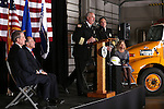 Assistant Chief Tom Tarulli congratulates Carson City Fire Chief Bob Schreihans at his badge-pinning ceremony at Station 51 in Carson City, Nev., on Tuesday, Feb. 3, 2015. <br /> Photo by Cathleen Allison