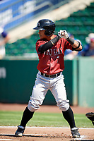 Cristhian Vasquez (7) of the Idaho Falls Chukars bats against the Ogden Raptors in Pioneer League action at Lindquist Field on July 2, 2017 in Ogden, Utah. Ogden defeated Idaho Falls 6-5. (Stephen Smith/Four Seam Images)