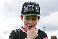 London, UK on Sunday 31st August, 2014. Leondre from Bars & Melody during the Soccer Six charity celebrity football tournament at Mile End Stadium, London.