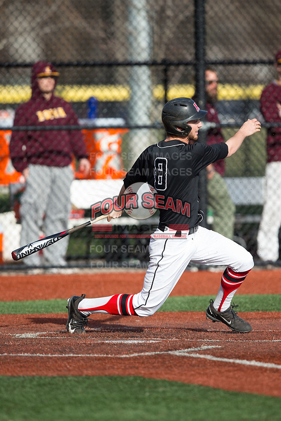 Christian Campbell (8) of the Rutgers Scarlet Knights follows through on his swing against the Iona Gaels at City Park on March 8, 2017 in New Rochelle, New York.  The Scarlet Knights defeated the Gaels 12-3.  (Brian Westerholt/Four Seam Images)