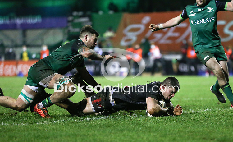 27th December 2020 | Connacht  vs Ulster <br /> <br /> Nick Timoney scores Ulster's second try during the Guinness PRO14 match between Connacht and Ulster at The Sportsground in Galway. Photo by John Dickson/Dicksondigital